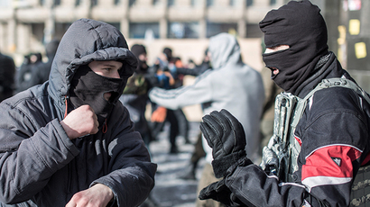 "Training in hand combat among opposition fighters from the nationalist organization ""Right sector"" in a camp on Independence Square in Kiev. (RIA Novosti / Andrey Stenin)"