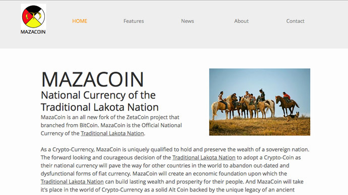 Screenshot from mazacoin.org