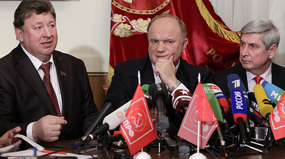 Deputy Chairman of the Russian Communist Party central committee Vladimir Kashin, party leader Gennady Zyuganov and first deputy chairman of the Communist Party central committee Ivan Melnikov (left to right) (RIA Novosti / Ruslan Krivobok)