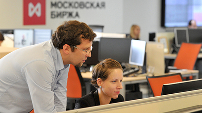 Employees seen at the office of the MICEX-RTS Stock Exchange (RIA Novosti / Sergey Kuznecov)