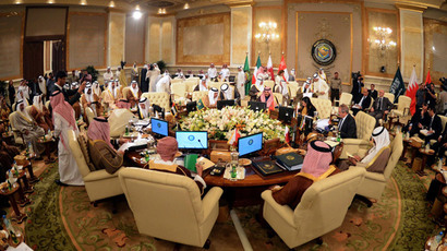 A general view shows Gulf Cooperation Council (GCC) ministerial meeting at Bayan Royal Palace in Kuwait city on November 27,2013.(AFP Photo / Yasser AL-Zayyat)