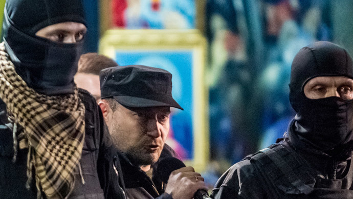 Dmitro Yarosh, Right Sector leader, speaks during a rally in Independence Square.(RIA Novosti / Andrey Stenin)