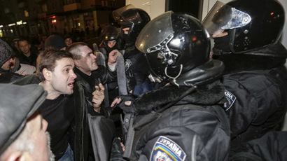 Pro-Russian demonstrators clash with riot police during a protest rally in Donetsk March 6, 2014.  (Reuters/Konstantin Chernichkin)