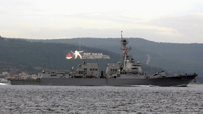 The U.S. Navy guided-missile destroyer USS Truxtun sets sail in the Dardanelles straits, on its way to the Black Sea March 7, 2014. (Reuters/Depo Photos)