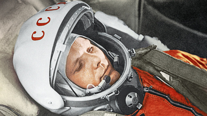 Yury Gagarin before a space flight aboard the Vostok spacecraft. April 12, 1961 (RIA Novosti)