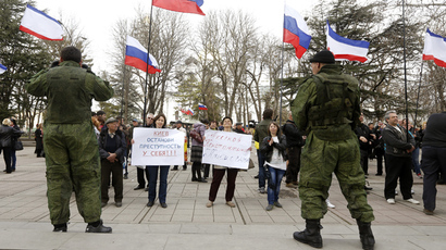 Pro-Russian supporters take part in a meeting in Simferopol, March 6, 2014 (Reuters / Vasily Fedosenko)