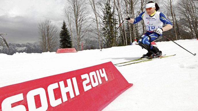 Ukraine's Lyudmyla Pavlenko skis during the women's 12 km cross-country sitting at the 2014 Sochi Paralympic Winter Games in Rosa Khutor March 9, 2014 (Reuters / Alexander Demianchuk)