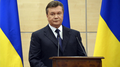 Ousted Ukrainian president Viktor Yanukovich attends his press-conference in southern Russian city of Rostov-on-Don, on March 11, 2014. (AFP Photo/ Alexander Nemenov)