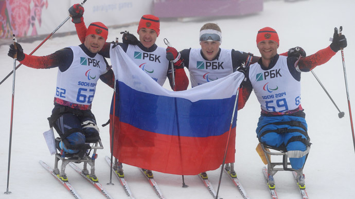 Russian biathletes Roman Petushkov, Aleksey Bychenok, Grigory Murygin and Ivan Goncharov, who took the four top spots in the men's 12.5 kilometers sitting event in Sochi. (RIA Novosti / Maxim Bogodvid)