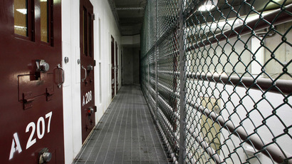 The interior of an unoccupied communal cellblock is seen at Camp VI, a prison used to house detainees at the U.S. Naval Base at Guantanamo Bay (Reuters/Bob Strong)
