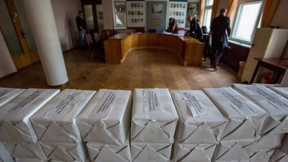 Sealed packets containing invitations calling citizens to take part in the referendum on the status of Crimea, in Constutuency No.8 of Simferopol's Kievsky District.(RIA Novosti / Andrey Stenin)