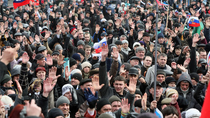 Pro-Russian activists vote during their rally in the eastern Ukrainian city of Donetsk on March 16, 2014.(AFP Photo / Alexander Khudoteply)