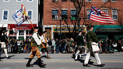 A historic reenactment group marches down Broadway during the annual South Boston St. Patrick's Day parade in Boston, Massachusetts March 16, 2014.(Reuters / Dominick Reuter)