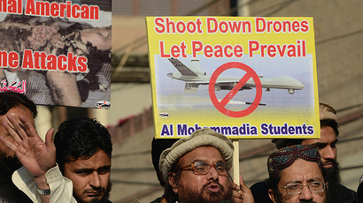 A protest against US drone strikes in Pakistan's tribal region, in Lahore (AFP Photo / Arif Ali)