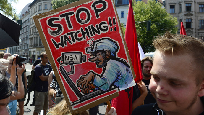 Demonstrators take part in a protest against the US National Security Agency (NSA) in Berlin  (AFP Photo/John Macdougall)