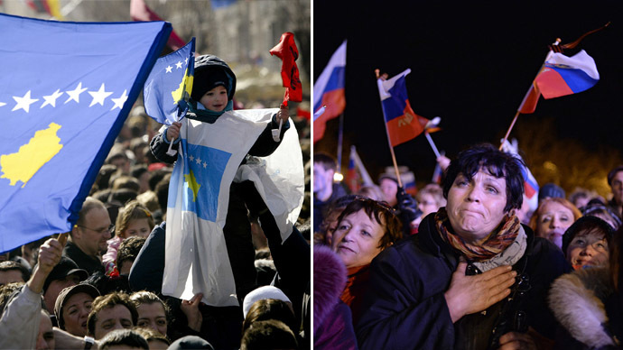 (L) Thousands of people celebrate with Kosovo and Albanian flags in Pristina on February 17, 2009.  (R)  Sevastopol residents at a celebratory show held after the referendum on Crimea's status. (AFP Photo/RIA Novosti)