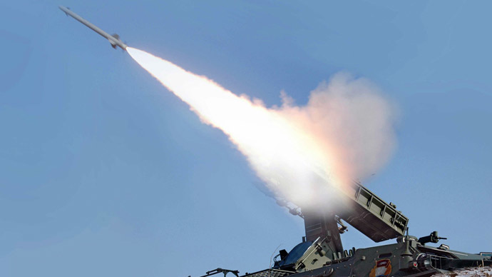 N. Korea fires 30 rockets into sea amid US-S. Korea drills