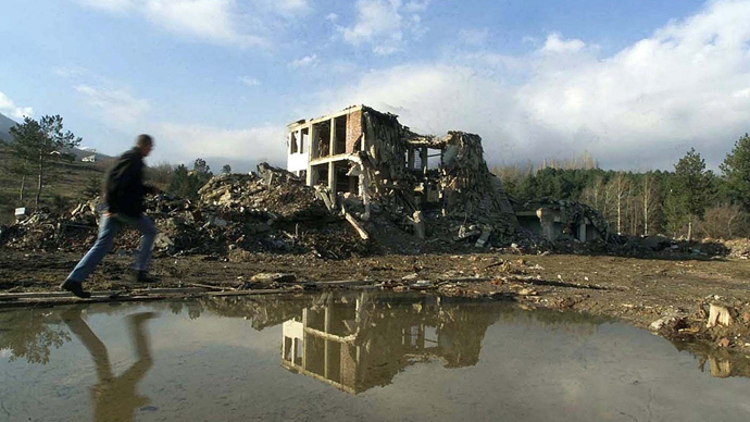 A Yugoslav Army barracks in the Kosovan town of Pec, destroyed during NATO's air strikes (Reuters)