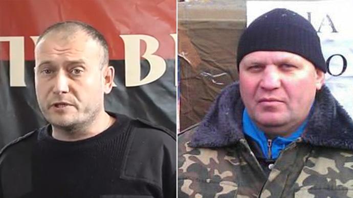 Dmitry Yarosh (L) and Aleksandr Muzychko (Still from RT video; Reuters)