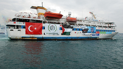"A picture shows an undated image taken from the Free Gaza Movement website on May 28, 2010 of the Turkish ship Mavi Marmara taking part in the ""Freedom Flotilla"" headed to the Gaza Strip. (AFP Photo / Free Gaza Movement)"