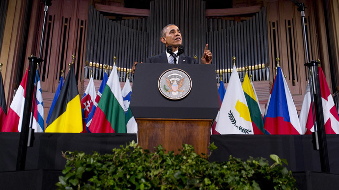 US President Barack Obama delivers a speech at the Palais des Beaux-Arts (Palace of Fine Arts - BOZAR) in Brussels on March 26, 2014. (AFP Photo / Saul Loeb)