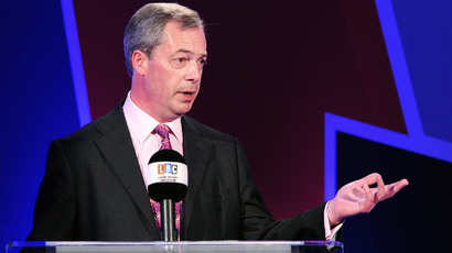UK Independence Party (UKIP) leader Nigel Farage speaks during a debate over Britain's future in the European Union with British Deputy Prime Minister Nick Clegg in London on March 26, 2014. (AFP Photo / Pool / Ian West)