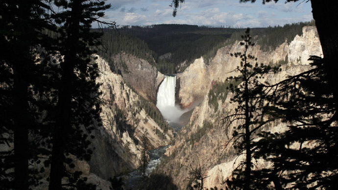 The Yellowstone River Lower Falls is seen at sunrise in Yellowstone National Park. (Reuters/Lucy Nicholson)