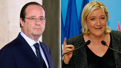French President Francois Hollande (L) and Marine Le Pen (R), France's far-right National Front political party leader (AFP Photo/Reuters)