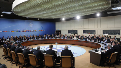 A photo taken on April 1, 2014 shows a view of the Foreign Affairs meeting at the NATO headquarters in Brussels. (AFP Photo / John Thys)