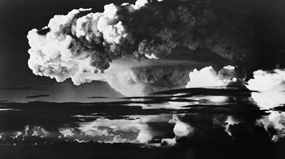 Picture taken on November 01, 1952 of the explosion of the american first H bomb, in the Eniwetok Atoll, in the Marshall Islands. (AFP Photo)