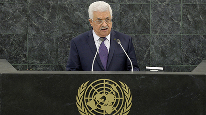 Mahmoud Abbas, President of the State of Palestine, speaks during the general debate of the 68th session of the United Nations General Assembly at United Nations headquarters in New York, New York, USA, 26 September 2013. (AFP Photo / Justin Lane)