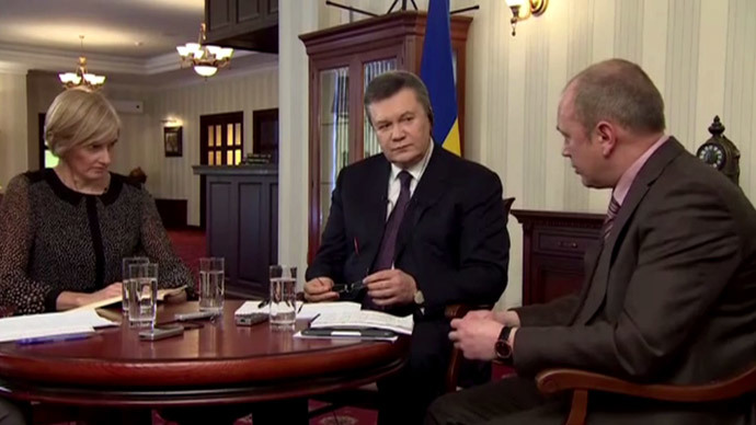 Viktor Yanukovych (C), (AP video still)
