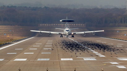 A NATO AWACS (Airborne Warning and Control Systems) aircraft takes-off for a flight to Poland from the AWACS air base in Geilenkirchen near the German-Dutch border April 2, 2014.  (Reuters / Ina Fassbender)