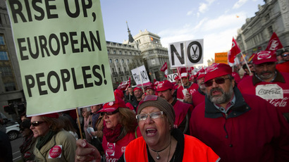 A woman shouts slogans as she protests during a demonstration against European and Spanish austerity measures in Madrid April 3, 2014. (Reuters/Sergio Perez)