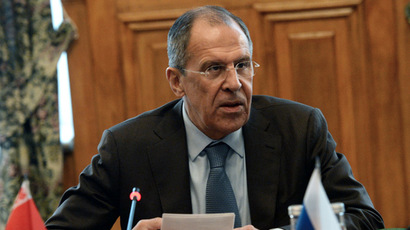 Russian Foreign Minister Sergei Lavrov during a meeting of the CIS Foreign Ministers Council in Moscow. (RIA Novosti/Alexey Filippov)