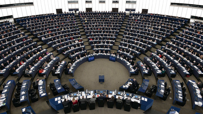 Members of the EU Parliament take part in a vote during a plenary session at the European Parliament in Strasbourg (AFP Photo)