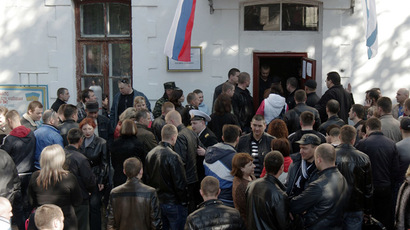 Ukrainian servicemen volunteering to the Russian armed forces, at the temporary conscription office at the Military Base 51330 in Sevastopol. (RIA Novosti/Vasiliy Batanov)