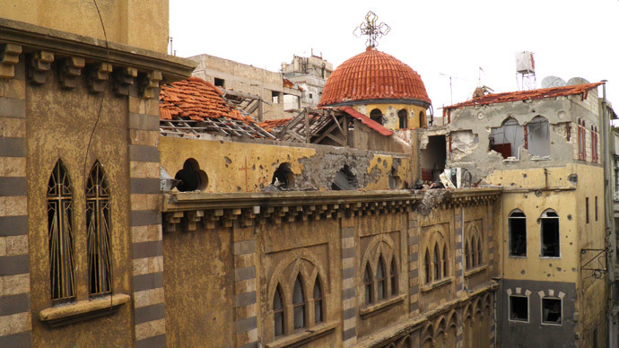 A damaged church is pictured in the besieged area of Homs.(Reuters / Thaer Al Khalidiya)