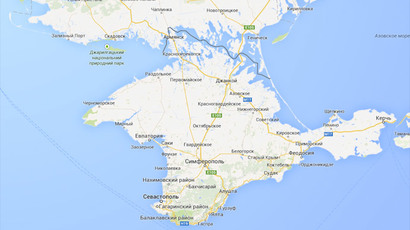 Crimea as shown by Google Maps' Russian service. The border with Ukraine shown in solid line reserved for borders between sovereign countries. (image from Google Maps)