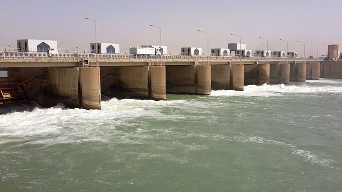 The Fallujah Barrage in Iraq. (Image from maps.google.com)