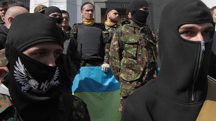 "Supporters of the radical movement ""Right Sector"" (RIA Novosti/Grigoriy Vasilenko)"