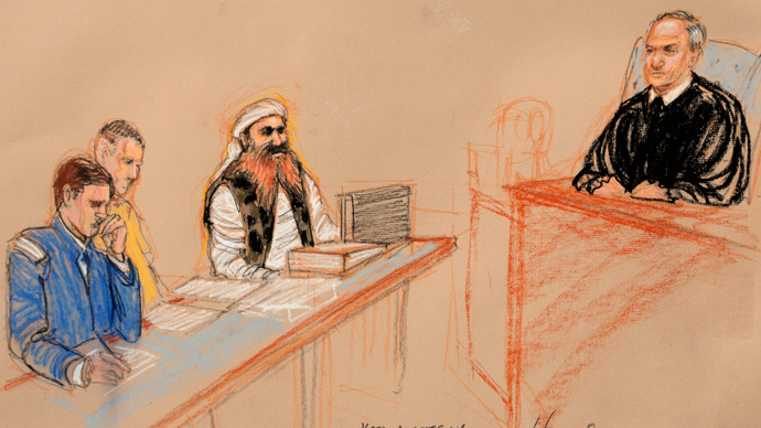 Khalid Sheikh Mohammed, (2nd from right) the alleged mastermind of the September 11 attacks, and Judge Pohl (right), October 17, 2012. (Reuters / Janet Hamlin)