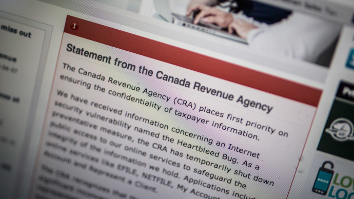 "The Canada Revenue Agency website is seen on a computer screen displaying information about an internet security vulnerability called the ""Heartbleed Bug"" in Toronto, April 9, 2014. (Reuters / Mark Blinch)"
