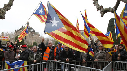 Pro-independence protestors shout slogans in front of Catalonia's regional parliament as lawmakers voted inside, in Barcelona, January 16, 2014. (Reuters/Albert Gea)