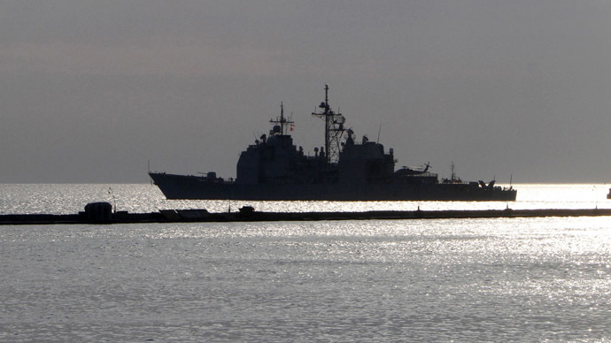 "U.S. naval vessel ""Monterey"" leaves harbour to take part in Ukranian-NATO joint exercises in the the Black Sea port of Odessa June 15, 2011. (Reuters/Yevgeny Volokin)"