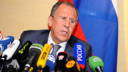 Russian Foreign Minister Sergey Lavrov gives a press conference in Geneva on April 17, 2014 (AFP Photo / Alain Grosclaude)