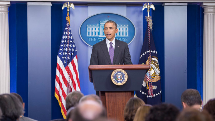 US President Barack Obama delivers remarks from the Brady Press Room at the White House in Washington, DC, April 17, 2014. (AFP Photo / Jim Watson)
