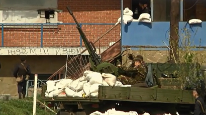 The town of Izyum in the Kharkov region, eastern Ukraine  (screenshot from RT video)