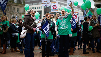 Women shout during a National Union of Teachers (NUT) march in Birmingham, central England (Reuters / Darren Staples)