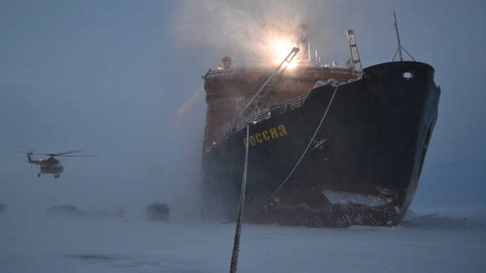 The icebreaker, on which the Russian polar explorers traveled to the Arctic to set up a new drifting station SP-40. (RIA Novosti / Anna Yudina)